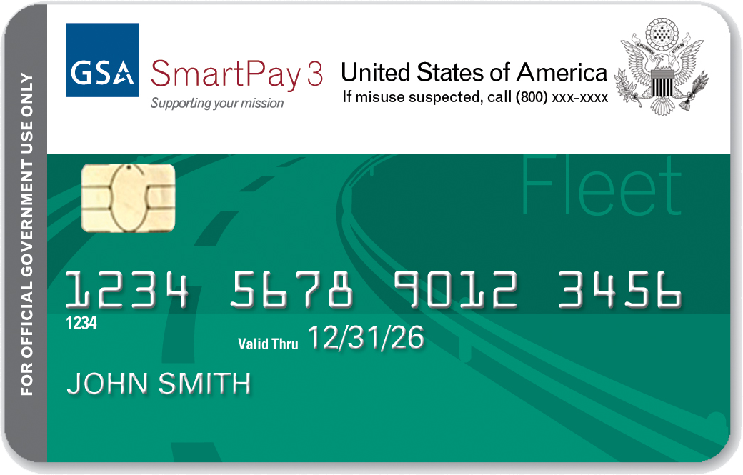 Sample SmartPay3 Fleet credit card.