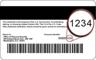 photo of the back of a PIV card with the HHS ID number circled.