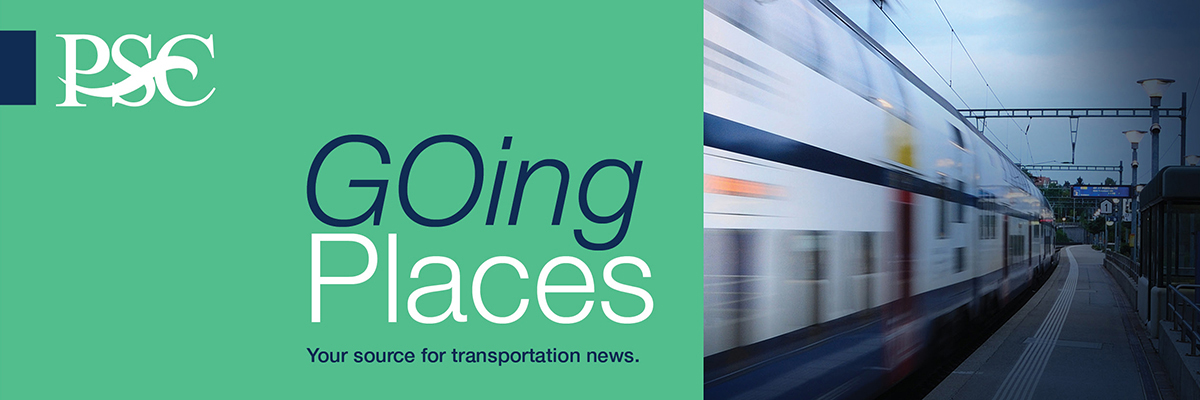 Going Places Newsletter Banner: Going Places. Your source for transportation news. Speeding train