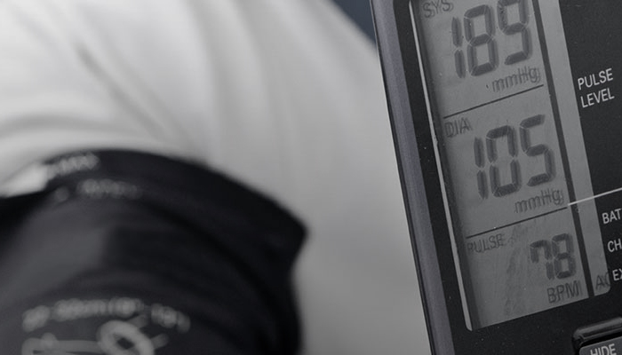 close up of a blood pressure check reading 189 over 105 over 78.